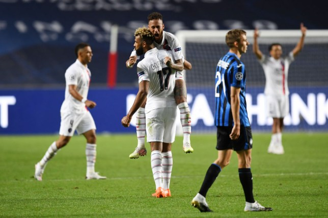 Neymar and Eric Maxim Choupo-Moting celebrate PSG's Champions League victory over Atalanta