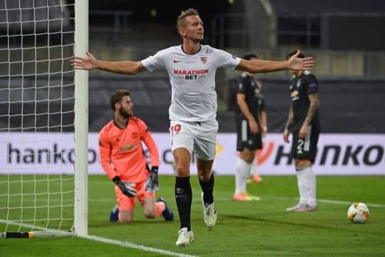 De Jong celebrates his goal for Sevilla against Manchester United