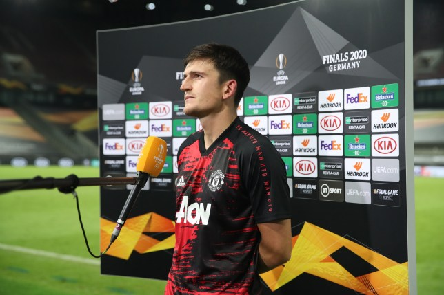 Harry Maguire speaks to the media after Manchester United's Europa League defeat to Sevilla