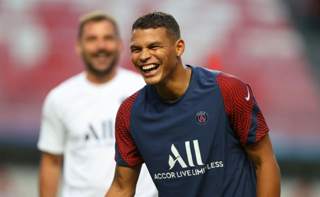 Chelsea transfer target Thiago Silva all smiles ahead of PSG's Champions League final defeat to Bayern Munich