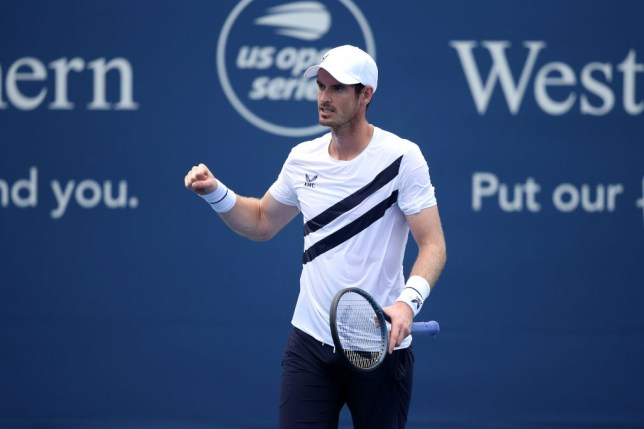 Andy Murray of Great Britain celebrates match point after defeating Frances Tiafoe of the United States during their Men's Singles First Round match against Frances Tiafoe of the United States on day three of the 2020 Western & Southern Open at USTA Billie Jean King National Tennis Center on August 22, 2020  in the Queens borough of New York City.
