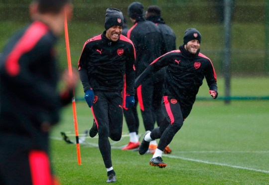 Pierre-Emerick Aubameyang and Jack Wilshere in Arsenal training
