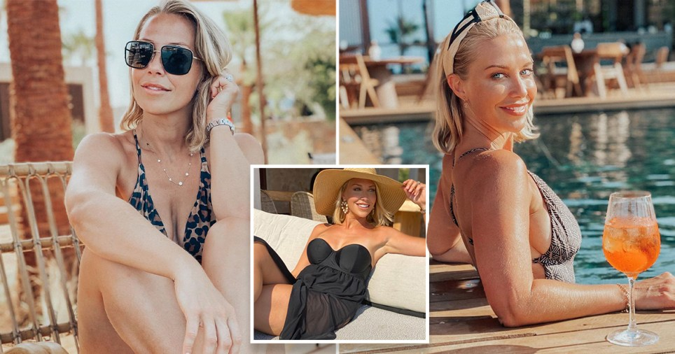 Laura Hamilton pictured by the pool on holiday