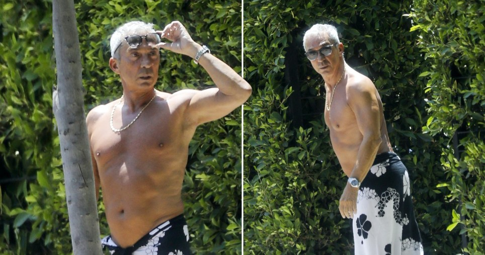Bruno Tonioli pictured shirtless with silver hair in LA
