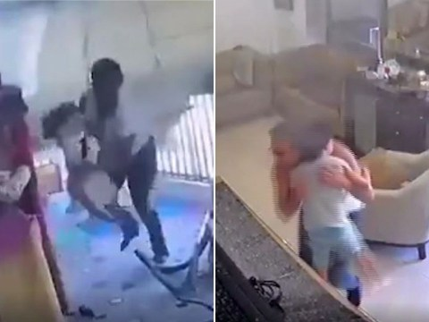 Parents filmed rushing to hug children as explosion ripped through homes