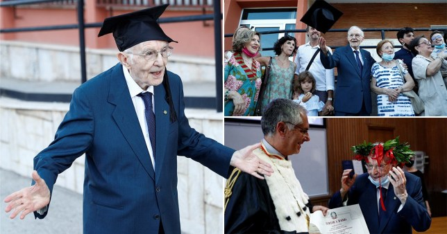 A 96-year-old war veteran has graduated top of his class after fulfilling his life-long dream of going to university
