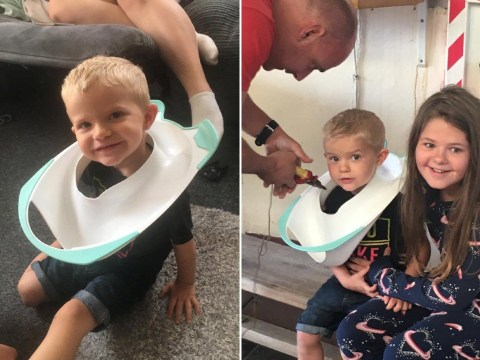 Toddler has to be rescued by firefighters after getting his head stuck in a toilet seat