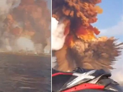 Jet skier films huge Beirut blast by chance while in sea next to port