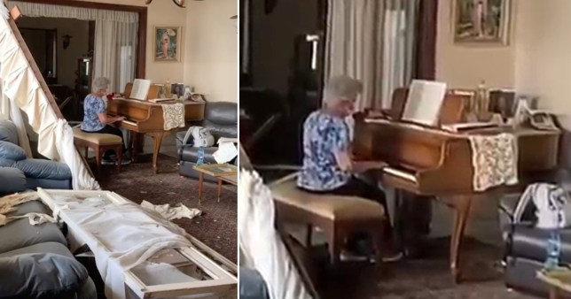Composite image of grandmother in Beirut playing piano surrounded by wreckage