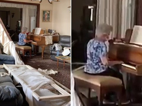 Grandmother plays piano in wreckage of home destroyed by Beirut explosion