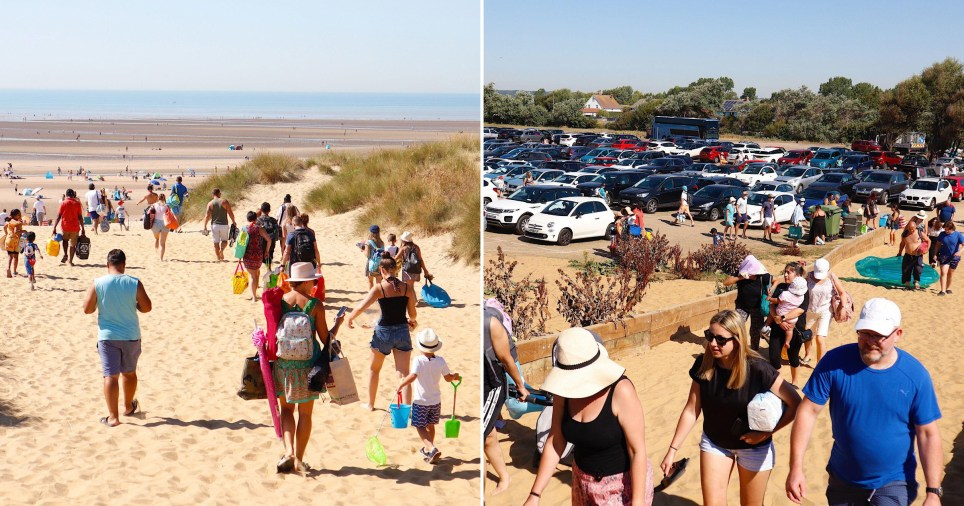 Crowds gathering for a day at the beach at Camber Sands in East Sussex