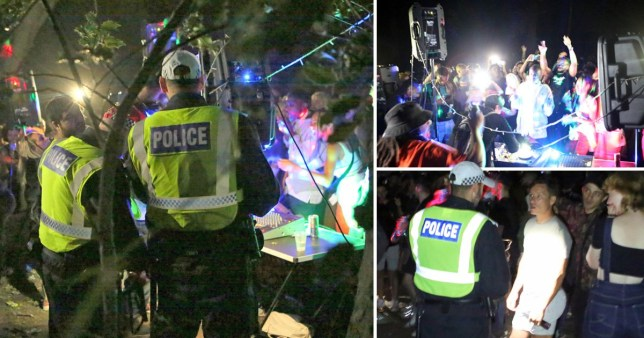 Police break up an illegal rave in Epping Forest.