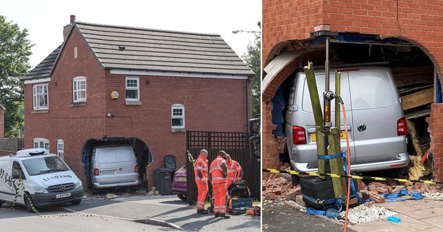 The van ploughed into the side of the house (Picture: SnapperSK)