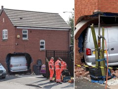 Mum and child injured after van smashed into family home
