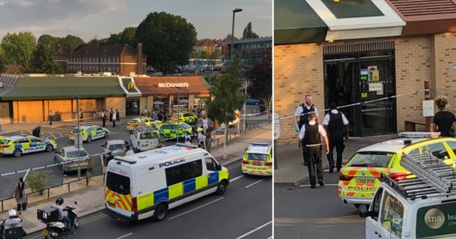 A man, in his 20s, has been rushed to hospital after being stabbed near a McDonald's in north London.