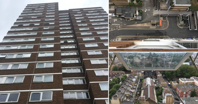 Picture shows the block of flats in Shoreditch, east London, from which a two-year-old fell to his death