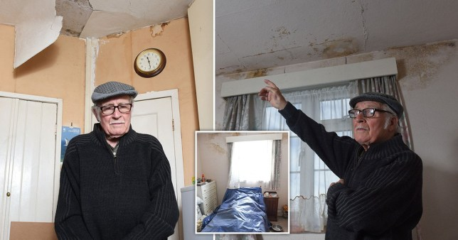 Picture shows Geoff Cunliffe, age 91, along with the damages in his home