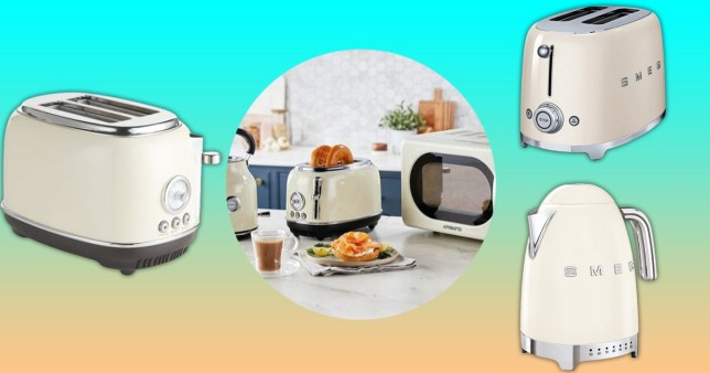 Aldi's new kitchen range and SMEG products on colourful background
