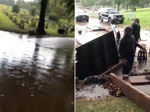 Families watched in horror as graves collapsed in flooded cemetery