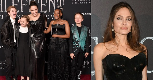 Angelina Jolie pictured with her children at Maleficent premiere