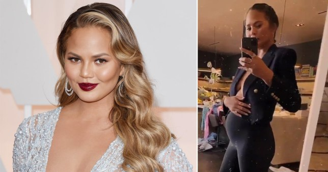 Chrissy Teigen pictured on red carpet and taking a selfie while pregnant in the mirror