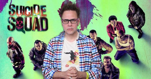 James Gunn pictured with Suicide Squad characters