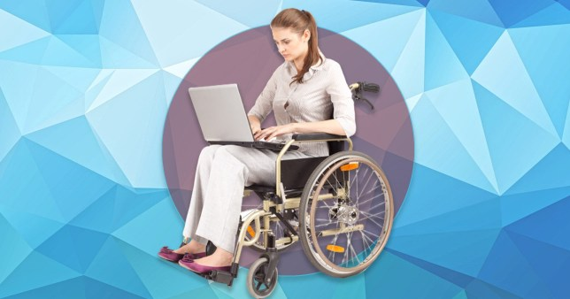 disabled woman on laptop and using a wheelchair