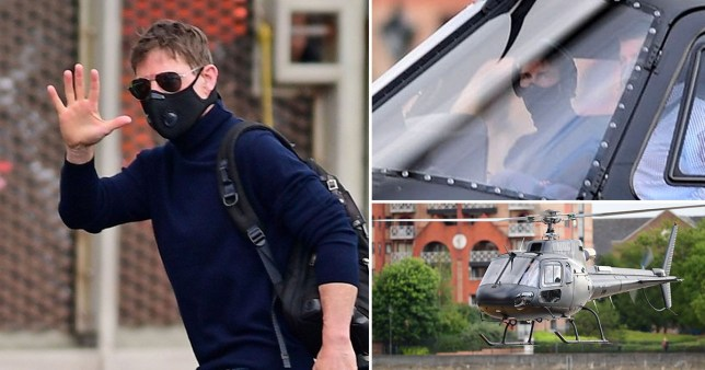 Tom Cruise flies a helicopter over London