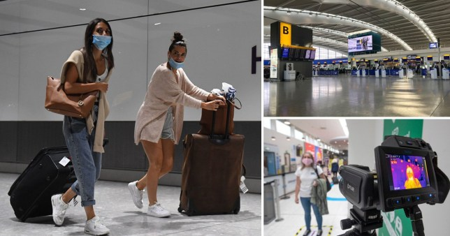 Passengers wearing masks arrive at Heathrow Airport as coronavirus travel restrictions are eased