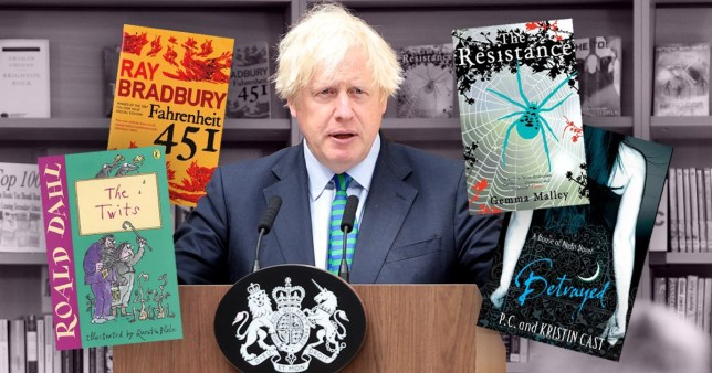 Books were apparently strategically placed behind the Prime Minister as he gave his speech