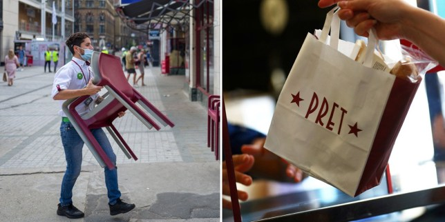 A Pret a Manger member of staff and takeaway bag