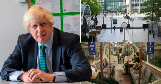 Boris Johnson on joins a class of year 11 pupils at Castle Rock school, Coalville, central England on August 26, 2020, during a visit on their the pupils' first day back and commuters making their way to work