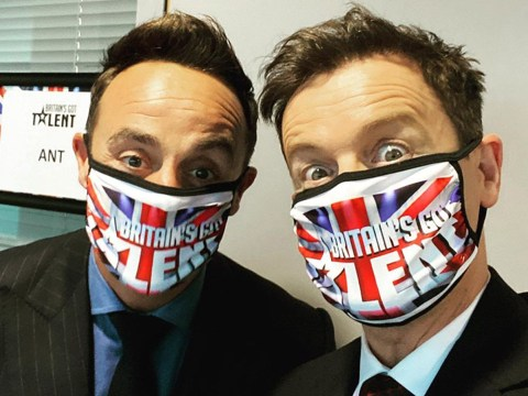 Ant and Dec post Britain's Got Talent selfie complete with Union jack face masks: 'Back to work!'