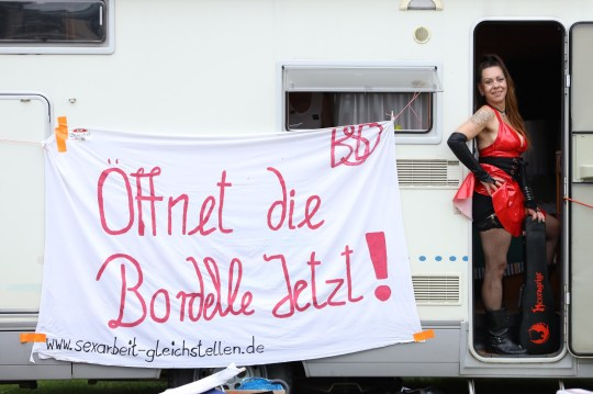 German sex workers protest against the continued closure of brothels.