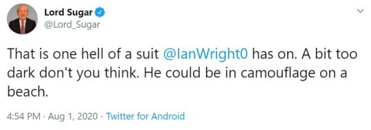 Lord Sugar tweet