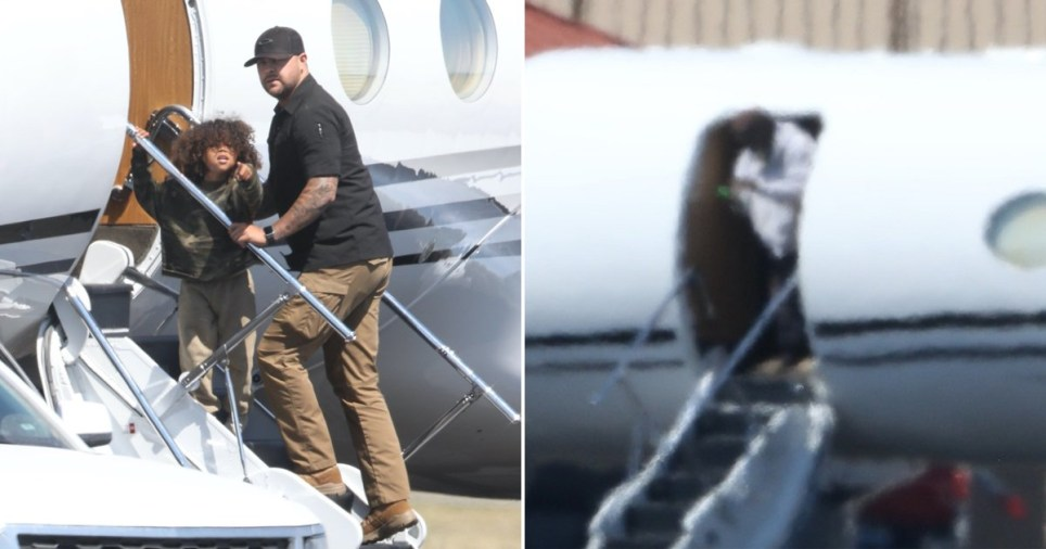 Kanye West gets picked up by a private jet with his kid Saint West in Cody, WY