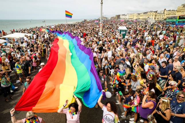 BRIGHTON, ENGLAND - AUGUST 03: A giant rainbow Pride flag is carried along the sea front during Brighton Pride 2019 on August 03, 2019 in Brighton, England. (Photo by Tristan Fewings/Getty Images)