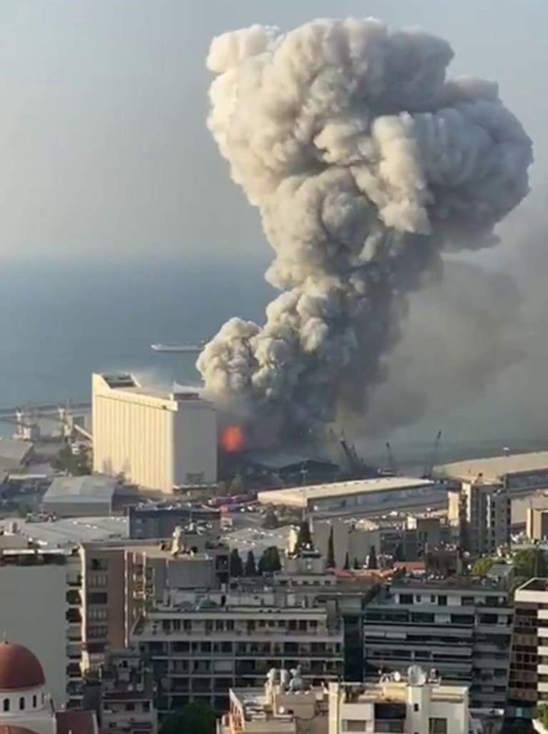 Huge explosion in Beirut, Lebanon (Picture: Twitter)