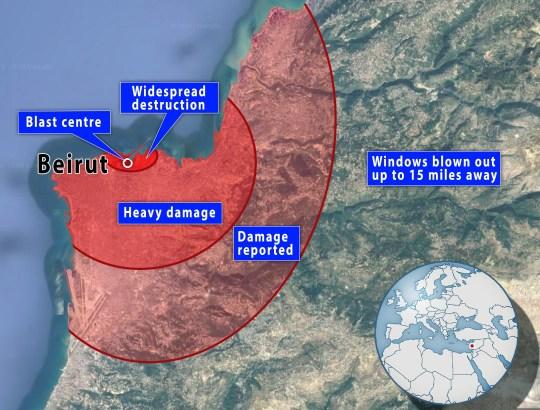 Beirut blast radius map