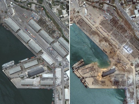 Satellite images reveal 150m crater left by explosion at Beirut port