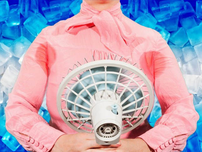 a person holding a fan