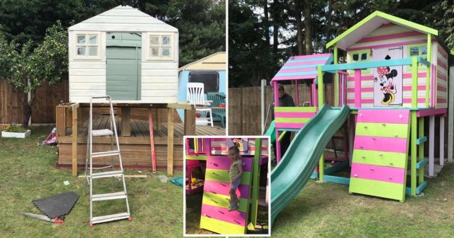 A family in lockdown has transformed a shoddy wendy house bought for £65 on Facebook into an incredible outdoor play area