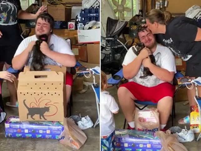 Autistic boy whose cat died of old age cries tears of joy after being given new kitten for 18th birthday