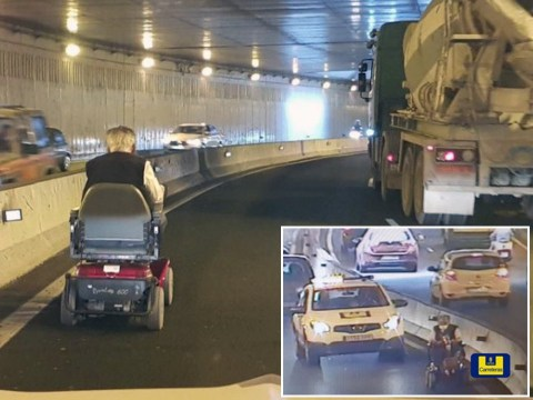 Pensioner drives mobility scooter on busy motorway causing massive traffic jam