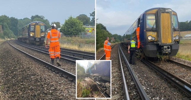 Nineteen people have been evacuated from a train which became stuck following a landslide in Kent, British Transport Police (BTP) said.