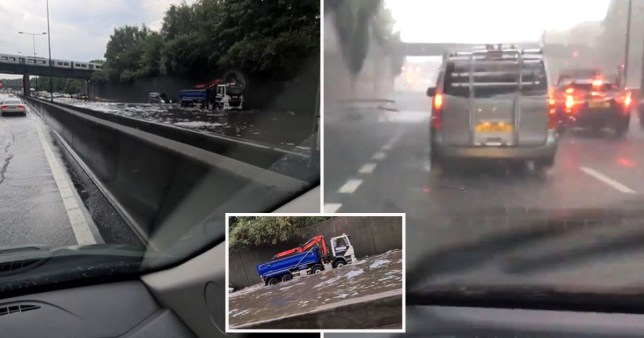 M25 motorway flooding brings traffic to a standstill