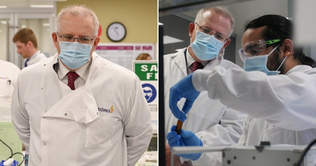Australian Prime Minister Scott Morrison tours the AstraZeneca facility in Sydney.