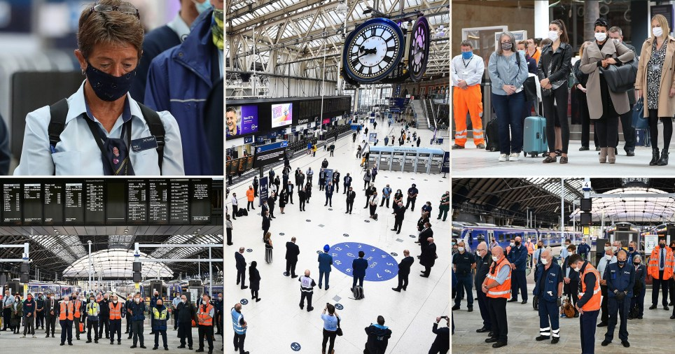 People having a minute's silence in train stations across the UK