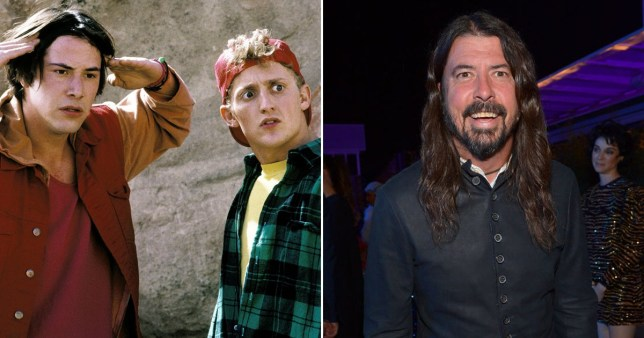 Dave Grohl pictured alongside Keanu Reeves and Alex Winter in Bill and Ted