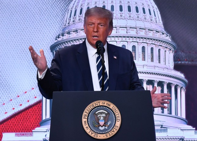 US President Donald Trump delivers remarks at the 2020 Council for National Policy Meeting at the Ritz Carlton in Pentagon City in Arlington, Virginia on August 21, 2020. (Photo by Nicholas Kamm / AFP) (Photo by NICHOLAS KAMM/AFP via Getty Images)
